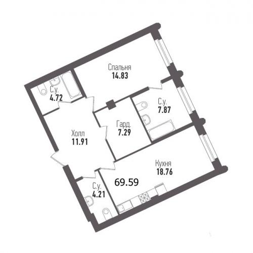 1-комнатная квартира на продажу (69,6 м<sup>2</sup>)