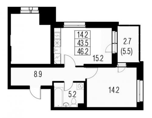 2-комнатная квартира на продажу (46,2 м<sup>2</sup>)