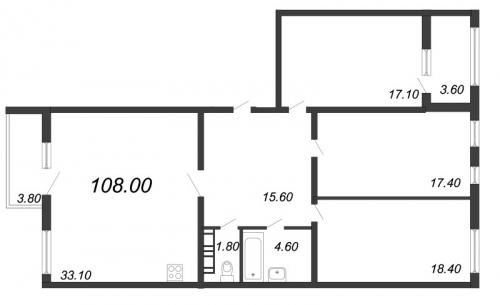 4-комнатная квартира на продажу (108,0 м<sup>2</sup>)