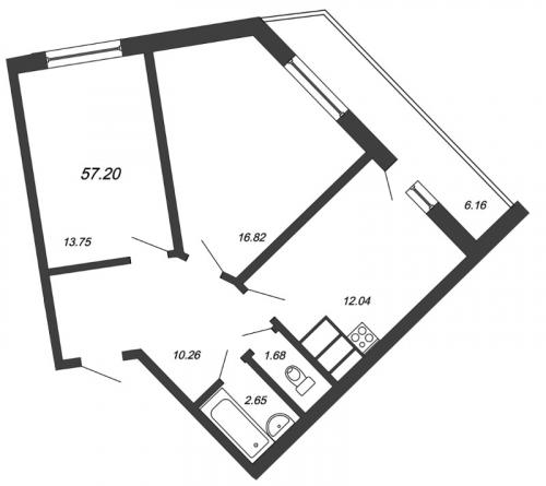 3-комнатная квартира на продажу (57,2 м<sup>2</sup>)