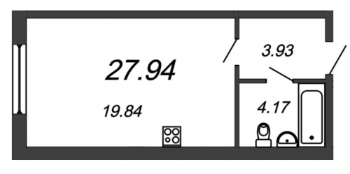Студия на продажу (27,9 м<sup>2</sup>)
