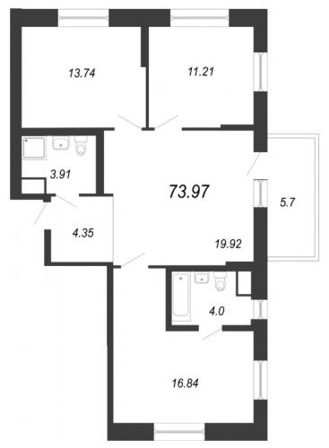 4-комнатная квартира на продажу (74,0 м<sup>2</sup>)