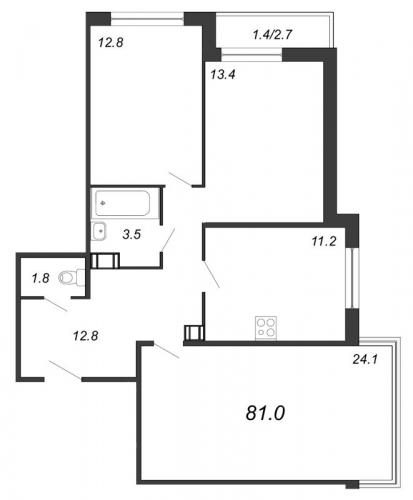 3-комнатная квартира на продажу (81,7 м<sup>2</sup>)