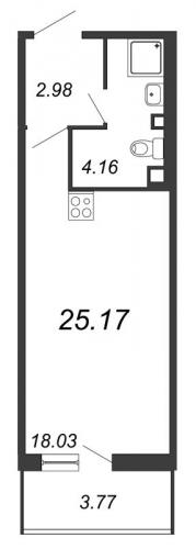Студия на продажу (25,2 м<sup>2</sup>)