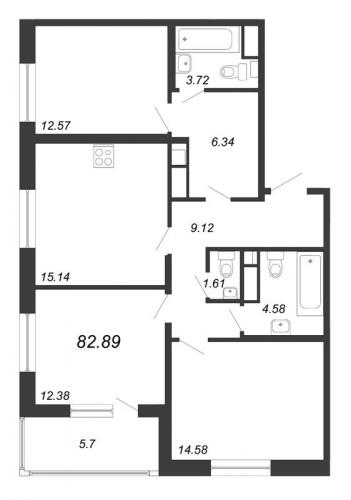 4-комнатная квартира на продажу (82,9 м<sup>2</sup>)
