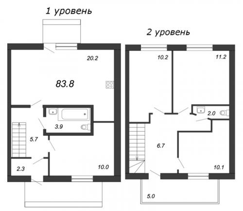 4-комнатная квартира на продажу (83,8 м<sup>2</sup>)