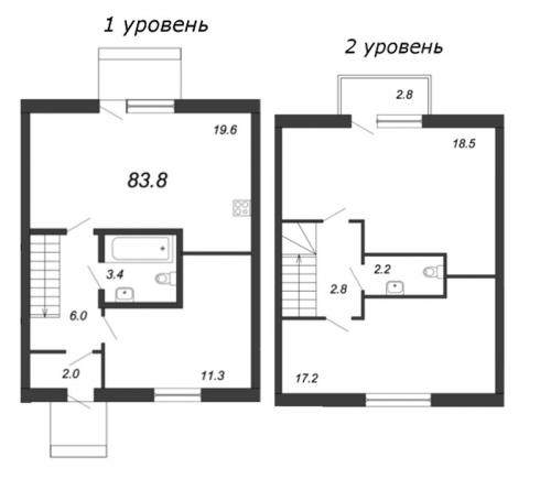 3-комнатная квартира на продажу (83,8 м<sup>2</sup>)
