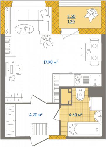 1-комнатная квартира на продажу (27,8 м<sup>2</sup>)