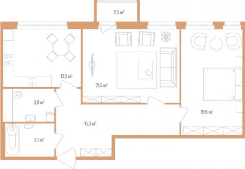 2-комнатная квартира на продажу (79,9 м<sup>2</sup>)