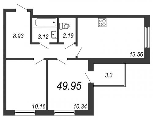 3-комнатная квартира на продажу (50,0 м<sup>2</sup>)