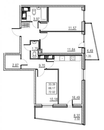 4-комнатная квартира на продажу (68,2 м<sup>2</sup>)