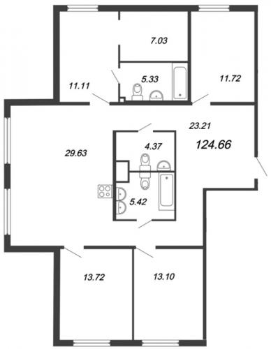 5-комнатная квартира на продажу (123,9 м<sup>2</sup>)