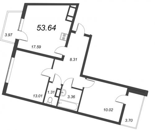 3-комнатная квартира на продажу (53,6 м<sup>2</sup>)