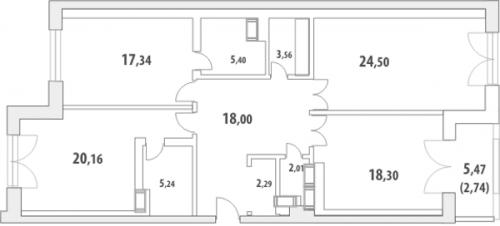 3-комнатная квартира на продажу (122,4 м<sup>2</sup>)
