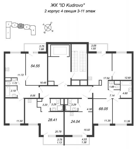 4-комнатная квартира на продажу (68,1 м<sup>2</sup>)