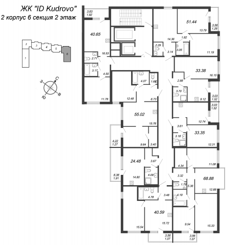 3-комнатная квартира на продажу (51,4 м<sup>2</sup>)