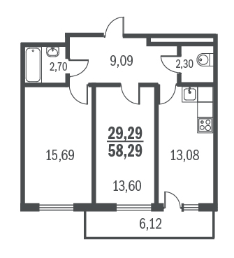 2-комнатная квартира на продажу (58,3 м<sup>2</sup>)