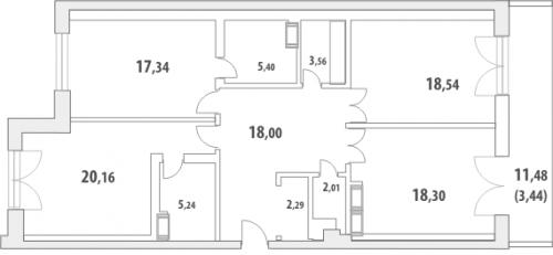 3-комнатная квартира на продажу (116,8 м<sup>2</sup>)