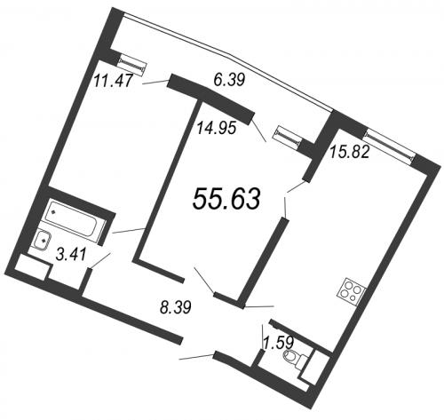 3-комнатная квартира на продажу (55,6 м<sup>2</sup>)