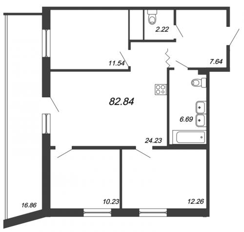 4-комнатная квартира на продажу (82,8 м<sup>2</sup>)