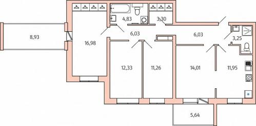 4-комнатная квартира на продажу (97,2 м<sup>2</sup>)