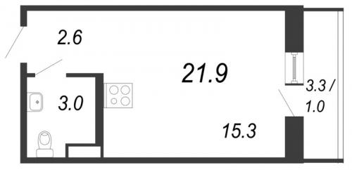Студия на продажу (21,9 м<sup>2</sup>)