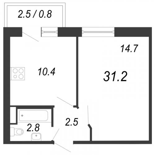 1-комнатная квартира на продажу (31,2 м<sup>2</sup>)