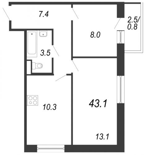 2-комнатная квартира на продажу (43,1 м<sup>2</sup>)