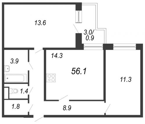 3-комнатная квартира на продажу (56,1 м<sup>2</sup>)