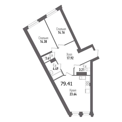2-комнатная квартира на продажу (79,4 м<sup>2</sup>)