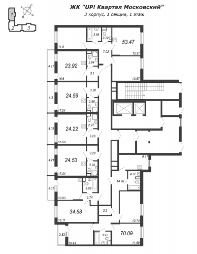 3-комнатная квартира на продажу (53,5 м<sup>2</sup>)