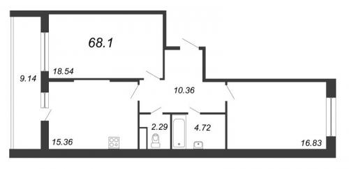 2-комнатная квартира на продажу (68,1 м<sup>2</sup>)