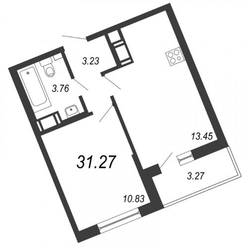 2-комнатная квартира на продажу (31,3 м<sup>2</sup>)