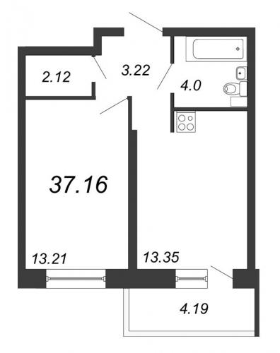 2-комнатная квартира на продажу (37,2 м<sup>2</sup>)