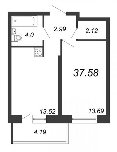 2-комнатная квартира на продажу (37,6 м<sup>2</sup>)