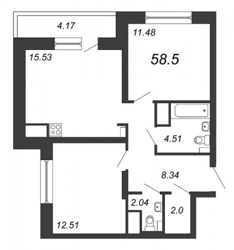 3-комнатная квартира на продажу (58,5 м<sup>2</sup>)