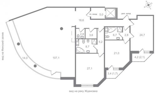 4-комнатная квартира на продажу (248,0 м<sup>2</sup>)