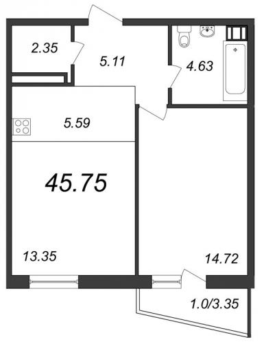 1-комнатная квартира на продажу (45,8 м<sup>2</sup>)