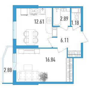 1-комнатная квартира на продажу (40,0 м<sup>2</sup>)