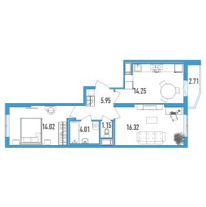 2-комнатная квартира на продажу (57,0 м<sup>2</sup>)