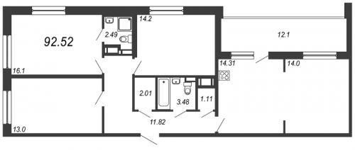 4-комнатная квартира на продажу (92,5 м<sup>2</sup>)