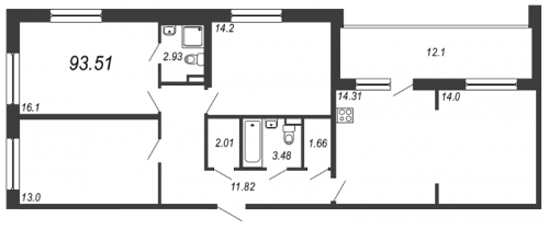 4-комнатная квартира на продажу (93,5 м<sup>2</sup>)
