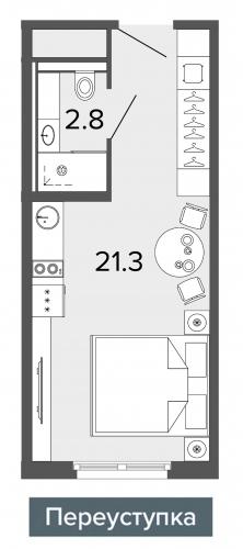 1-комнатная квартира на продажу (24,1 м<sup>2</sup>)