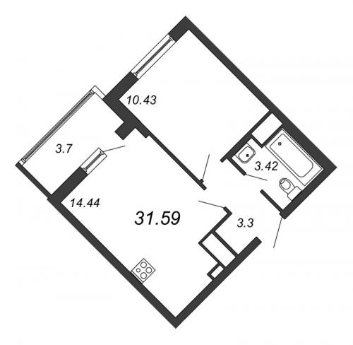 2-комнатная квартира на продажу (31,6 м<sup>2</sup>)