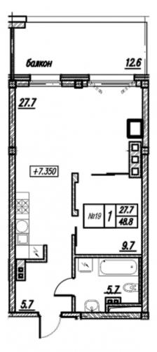 1-комнатная квартира на продажу (61,4 м<sup>2</sup>)