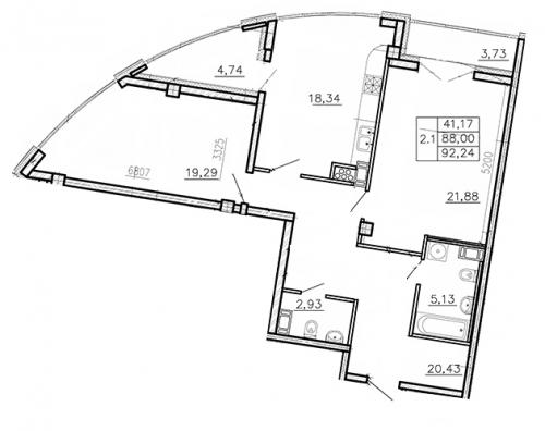 2-комнатная квартира на продажу (93,2 м<sup>2</sup>)