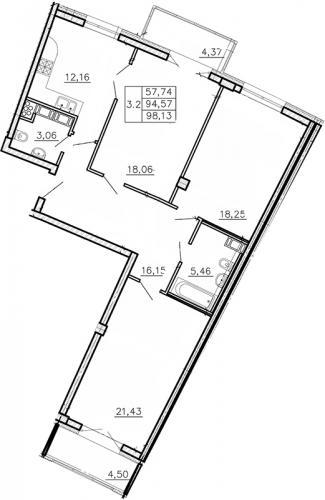 3-комнатная квартира на продажу (97,3 м<sup>2</sup>)