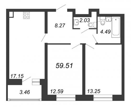 3-комнатная квартира на продажу (59,5 м<sup>2</sup>)