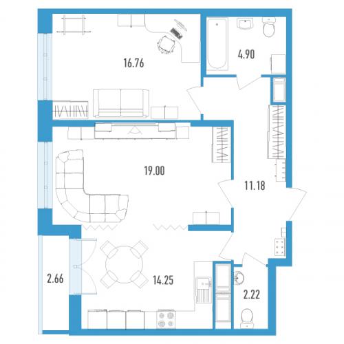 2-комнатная квартира на продажу (69,0 м<sup>2</sup>)