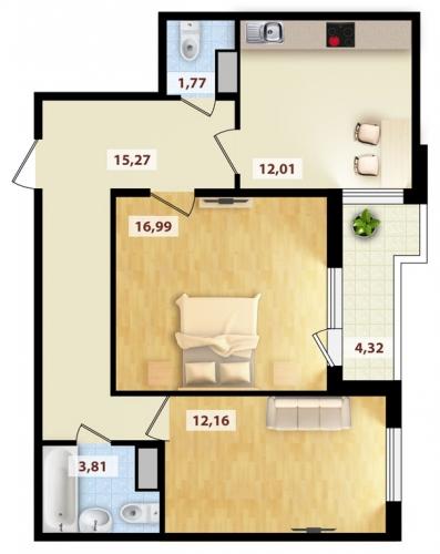 2-комнатная квартира на продажу (64,5 м<sup>2</sup>)